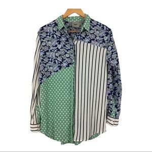 ASOS Color Block Paisley Striped Button Blouse 4